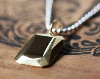 Gold dog tag necklace, gold minimalist necklace, rectangle necklace pendant, modern necklace simple necklace daughter birthday gift for wife