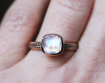 Moonstone Ring rose gold, cushion cut moonstone ring, rainbow moonstone ring 14k rose gold, anniversary gift for wife, gold promise ring