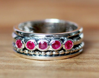 Five stone ring, 5 stone ring, red ruby band ring, wide band ring, wide band sterling silver rings, statement ring, stacking ring, Harmony