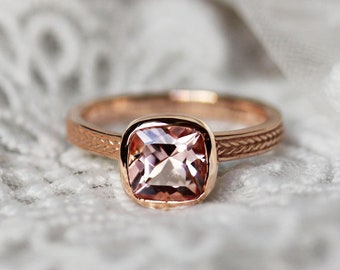Morganite ring, 14k Rose Gold Cushion Cut Pink Morganite Solitaire Engagement Ring, Rose Gold Morganite Ring, Stackable Everyday ring, Wheat