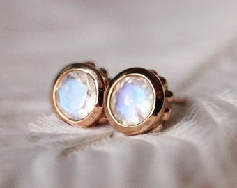 14k rose gold rainbow moonstone stud earrings, dainty gold studs, romantic gift for wife, wedding gift rose gold stud luxury jewelry Wrought