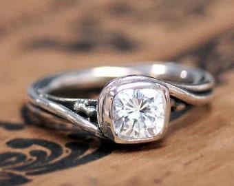 Cushion cut moissanite engagement ring, cushion solitaire ring, moissanite cushion cut ring, moissanite cushion ring, cushion cut solitaire