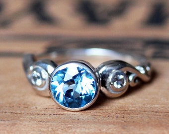 3 stone engagement ring, blue topaz engagement ring, alternative engagement ring, bezel engagement ring, three stone ring, Cumulus ring