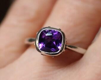 Antique amethyst ring silver, purple amethyst ring, cushion cut amethyst ring, February birthstone ring, filigree ring emily bronte custom