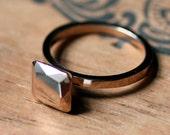Modern rose gold engagement ring, 14k rose gold engagement ring, faceted gold ring, non diamond ring Asscher cut ring, square cut, custom