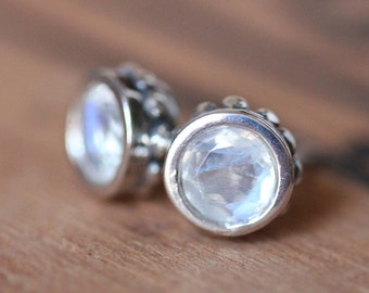 Moonstone stud earrings, rainbow moonstone earrings, bezel earrings, post earings, post earrings, June birthstone, ready to ship, wrought