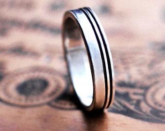 Mens silver wedding band silver, modern silver ring, mens band ring, flat wedding band, alternative wedding ring, mens wedding band, custom