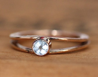 White topaz engagement ring, rose gold, modern engagement ring, minimal engagement ring, alternative engagement ring simple, size 6, Wishes