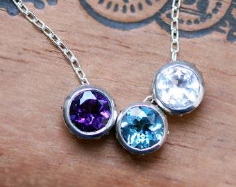 Birthstone bezel necklace for mom, unique mothers necklace, gift for mom, triple necklace solitaire slider charm, gemstone custom, Wrought
