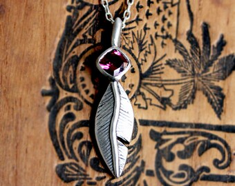 Sterling silver feather necklace silver, feather pendant, rhodolite garnet necklace, January birthstone necklace, oxidized ready to ship