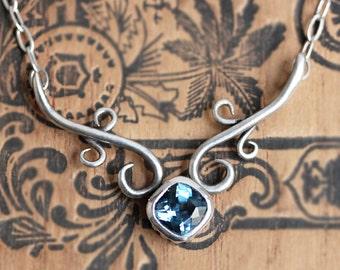 Blue topaz necklace, blue topaz jewelry, wedding necklace bridal jewelry, bride necklace, anniversary gift, fine jewelry wrought