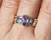 Birthstone stacking rings, stackable mothers ring, wrought ring, gemstone stacking ring, mothers day gift, personalized ring set, custom