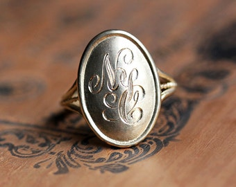 Engraved 14k gold monogram ring, gold initial ring, personalized monogram ring, engraved ring gold, personalized gift, gift for graduates