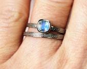 White gold moonstone ring, rainbow moonstone engagement ring, wheat braided ring, alternative engagement ring recycled 14k white gold custom