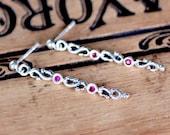 Wrought ruby drop earrings, sterling silver ruby stick earrings, July birthstone silver dangle earrings, birthstone infinity earrings