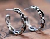 Infinity earrings sterling silver hoop earrings, Mothers day gift, medium hoop earrings, silver artisan earrings, hoop earing, Wrought