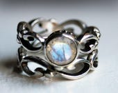 Moonstone engagement ring set, rainbow moonstone engagement ring, infinity swirl ring, bezel, recycled sterling silver, Wrought custom made