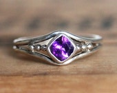 Purple amethyst ring sterling silver, February birthstone ring, amethyst ring silver, bezel ring, cushion cut ring, organic, custom