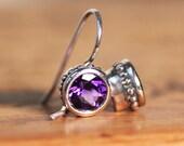 Amethyst drop earrings, amethyst dangle earrings, bezel earrings, February birthstone earrings, purple stone earrings