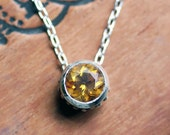 Citrine necklace, citrine pendant, November birthstone necklace, bezel necklace, slide necklace, eco friendly, wrought, ready to ship
