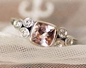Morganite cluster engagement ring, three stone morganite ring, cushion cut Pink morganite and moissanite ring, bezel set morganite, wheat