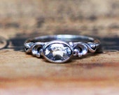 White Topaz Oval Bezel Engagement Ring in sterling silver, April Birthstone Ring, antique ring design, white topaz engagement ring, water