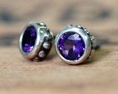 Amethyst stud earrings, amethyst studs, bezel stud earrings, February birthstone earrings, purple stone earrings, gift ready to ship wrought