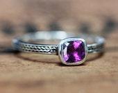 Purple amethyst ring sterling silver, genuine amethyst ring silver, natural amethyst ring, february birthstone ring, birthday ring, custom