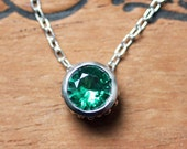 Emerald bezel necklace, May birthstone necklace for mom necklace birthstone, imitation emerald, silver slide necklace, ready to ship wrought