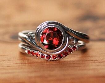 Garnet engagement ring set, anniversary ring, red garnet wedding band, January birthstone ring, garnet promise ring silver, wedding ring set