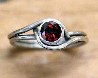 Sterling silver garnet ring, red garnet ring, January birthstone ring, swirl ring, garnet jewelry, mini pirouette, custom made