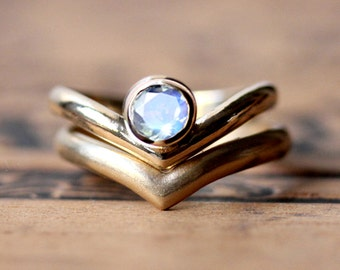 Moonstone wedding ring set, rainbow moonstone engagement ring set, rainbow moonstone ring, 14k gold ring modern engagement ring Arrow custom