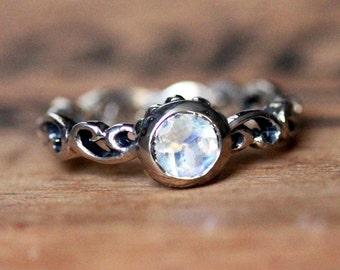 Rainbow moonstone ring, silver engagement ring, bezel engagement ring, mini Water Swirl ring, June birthstone ring, custom made to order