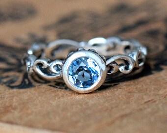 Swiss blue topaz ring, blue topaz engagement ring, silver engagement ring, bezel engagement ring, silver Swirl ring, birthstone ring, custom