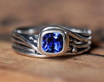 Cushion sapphire engagement ring set, white gold, ethical engagement ring, cushion cut sapphire wedding ring set women, Pirouette, custom