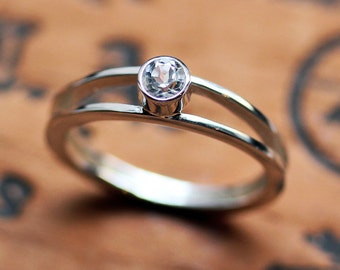 White topaz engagement ring, recycled sterling silver, December birthstone, modern engagement ring, white topaz ring silver, Wishes ring