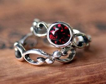 Garnet engagement ring set, garnet wedding set, bezel set engagement ring, unique engagement ring, red garnet ring, infinity ring, Wrought