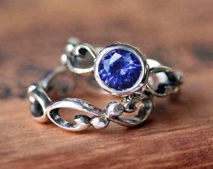 Blue sapphire engagement ring set, sapphire bridal set, lab created sapphire ring set, ethical wedding saphire engagement, custom Wrought