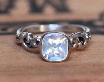Rainbow moonstone engagement ring, moonstone ring sterling silver, June birthstone ring, cushion cut ring, swirl ring water dream, custom