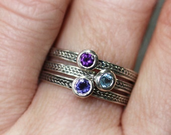 Birthstone stacking rings, stackable mothers ring, braided ring, gemstone stacking ring, mothers day gift, personalized ring set, custom