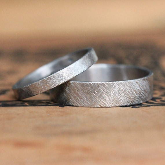 Palladium Wedding Band Set Rustic Wedding Band Palladium Etsy