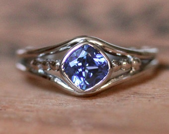 Tanzanite engagement ring, white gold tanzanite ring gold, cushion bezel ring, blue tanzanite, alternative engagement ring, custom made