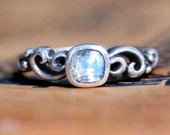 Moonstone ring vintage style, rainbow moonstone ring, silver June birthstone, cushion cut ring, moonstone engagement ring Water dream custom