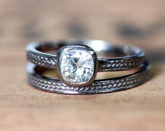 White gold Moissanite engagement ring set, moissanite bridal ring set, bezel engagement ring, braid engagement ring, wheat ring, custom