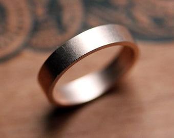 Rose gold wedding band, mens or womens wedding band, recycled 14k rose gold, brushed wedding band, 4mm flat unisex band, custom made