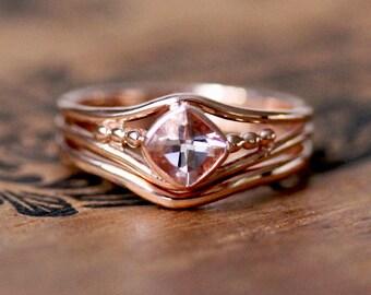 Rose gold morganite wedding set, morganite bridal set rose gold, cushion cut morganite ring set, non diamond engagement ring, modern