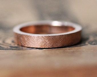 Rose gold wedding band, mens rose gold wedding ring, rustic rose gold rings, modern wedding band, rose gold mens band, textured band, custom