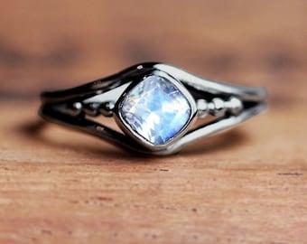 White gold moonstone ring, rainbow moonstone engagement ring, June birthstone ring, cushion cut ring, bezel set ring organic ring, custom