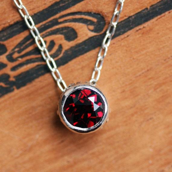 Gift for Her, Garnet Sterling Silver Bezel Necklace Garnet Bezels Red January Birthstone Valentine/'s Day Ringlet Chain