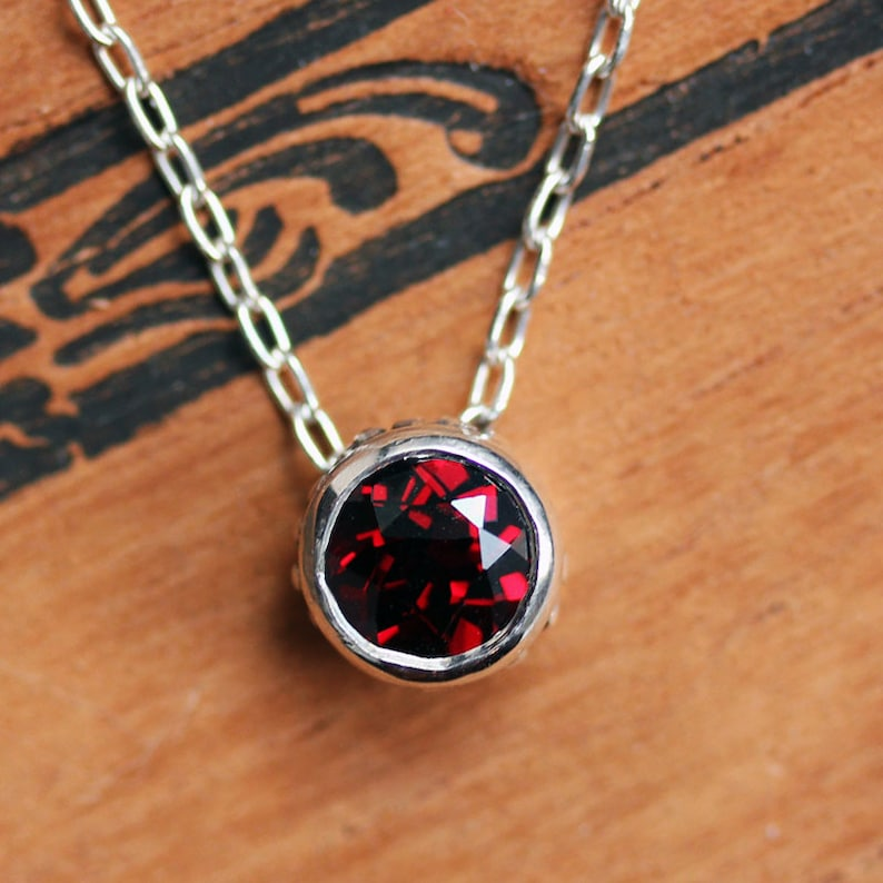 Red garnet necklace solitaire necklace January birthstone image 0
